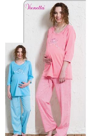 Mateřské pyžamo dlouhé Méďa a kopretiny