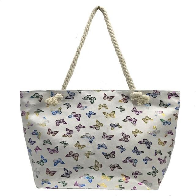 7ff00d66b2 Plážová taška Fashion Only Butterfly - bílá