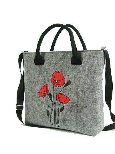 Filcová taška přes rameno Wild Flowers - šedá