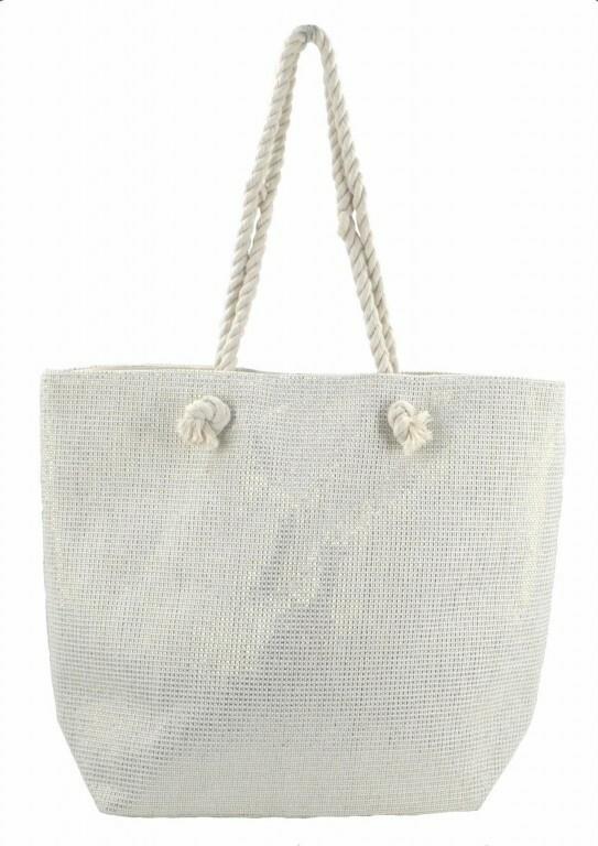 Plážová taška Metallic Beach - bílá / zlatá - bílá
