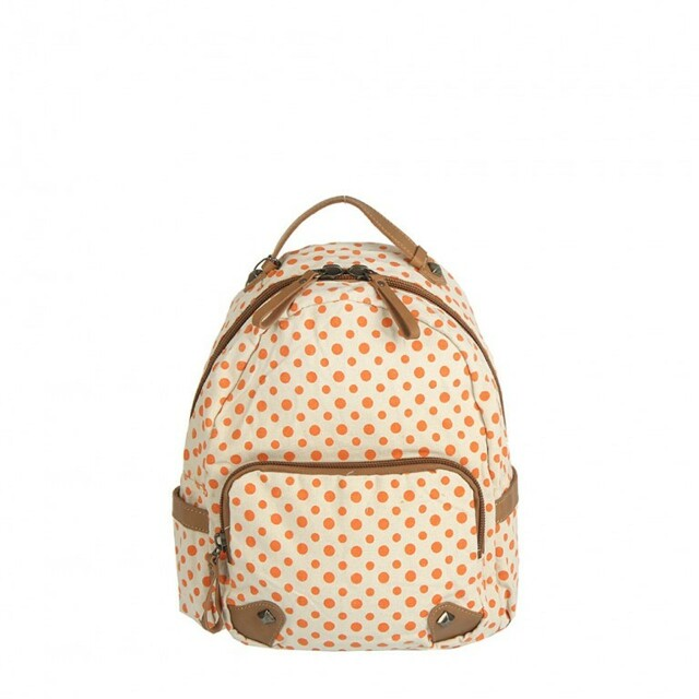 Batoh Mini Dot - oranžový - hnědá 361248329c