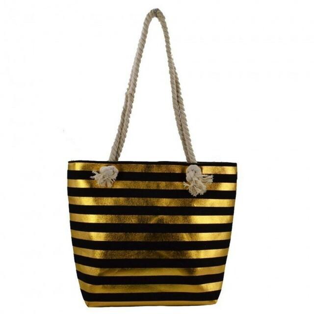 Plážová taška Stripe Beach - černá / zlatá
