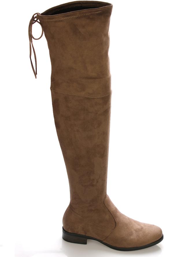 Hnědé elastické kozačky nad kolena Claudia Ghizzani - 39
