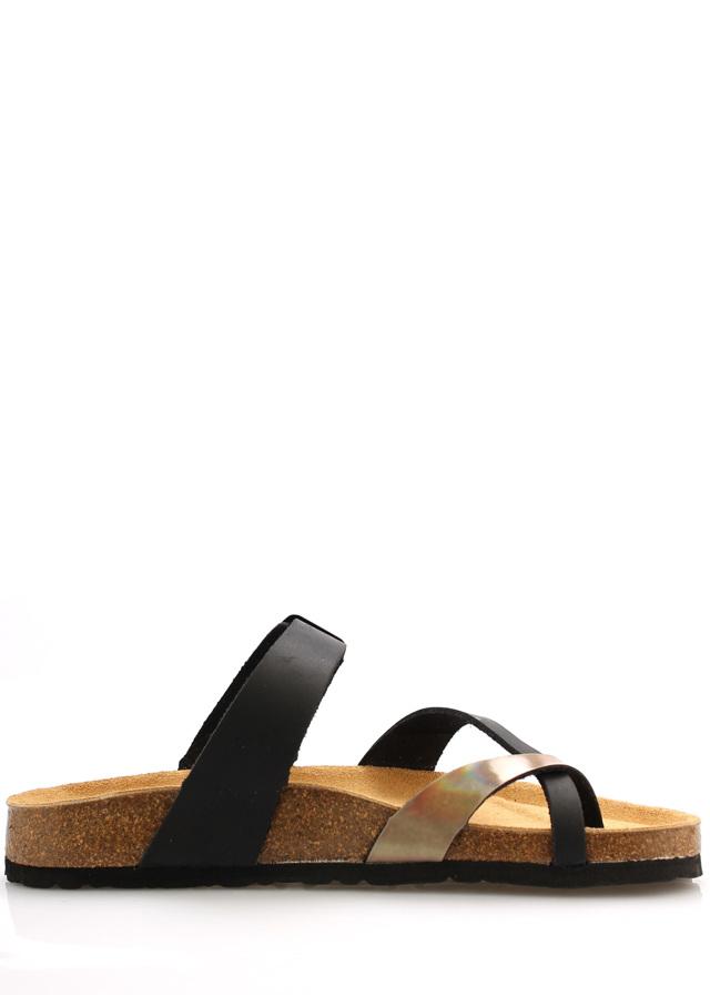 Zdravotní černo-hnědé kožené pantofle EMMA Shoes - 38