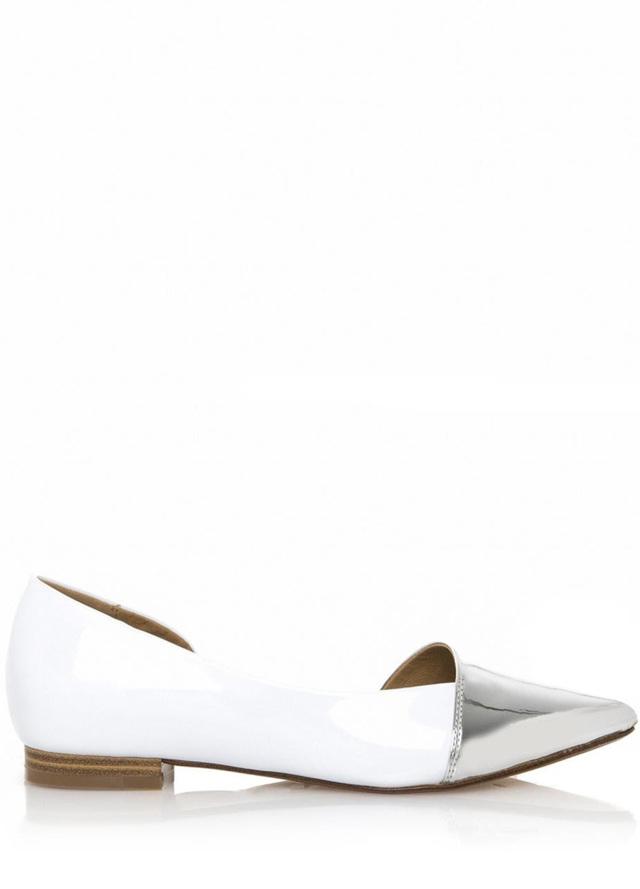 Bílé baleríny se stříbrnou špičkou Maria Mare - 41