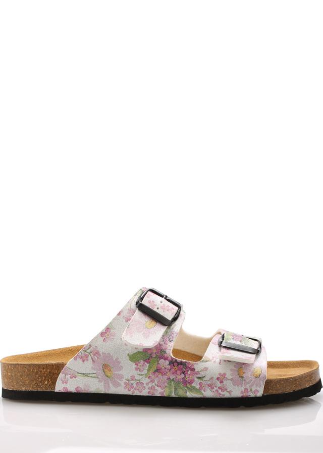 Květované zdravotní kožené pantofle EMMA Shoes - 38
