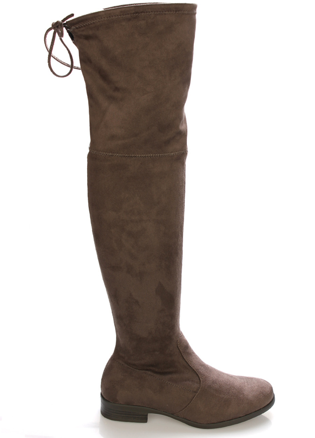 Šedé elastické kozačky nad kolena Claudia Ghizzani - 39