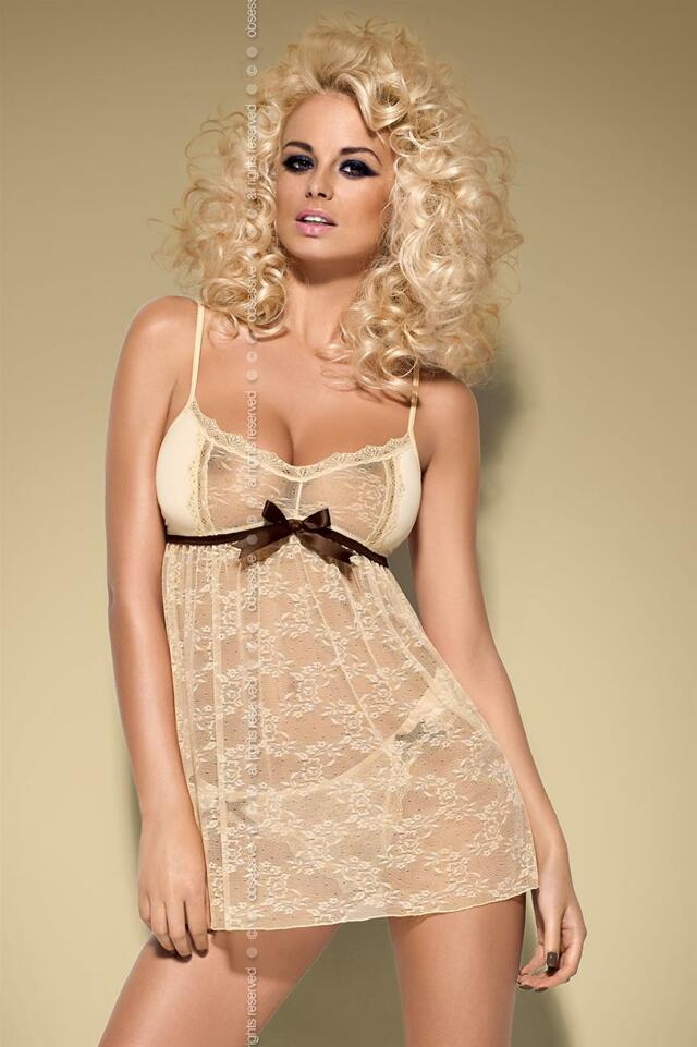 Košilka Caramella babydoll - Obsessive - L/XL - béžová