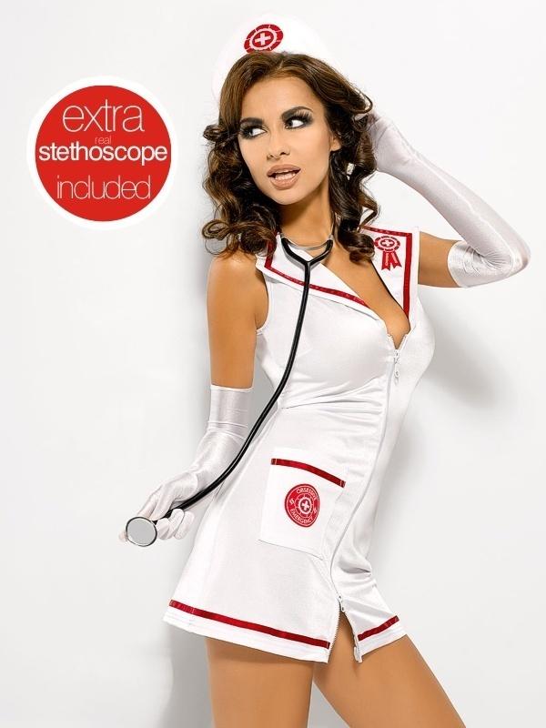 Sexy kostým Emergency dress + stetoskop - Obsessive - S/M - bílá