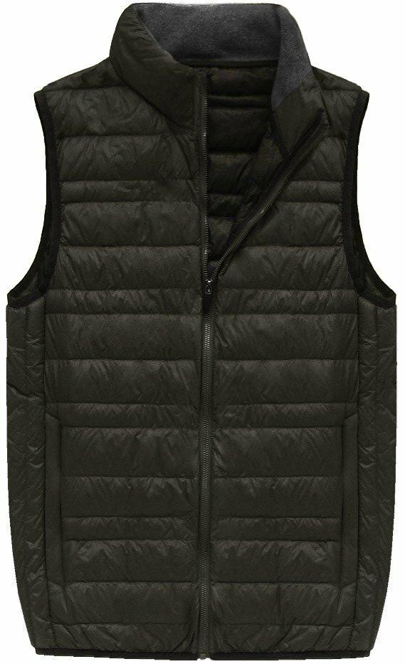 Khaki pánská vesta s přírodní vycpávkou (5008) - M - khaki
