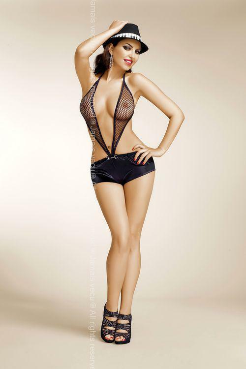 Erotické body Lou - JAMAIS VU - L/XL - černá
