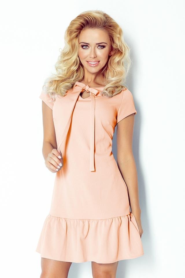 Béžové šaty s volánkem a mašlí 101-3 - L