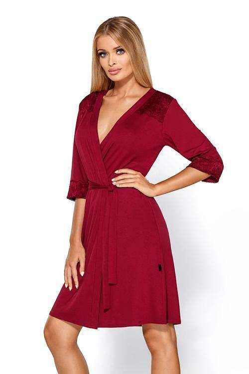 Dámský župan Hamana Helen gown burgund - L/XL - bordo