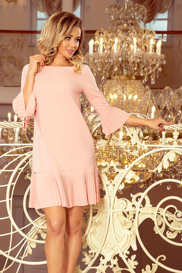 LUCY - Pohodlné dámské plisované šaty v broskvové barvě 228-1 - L