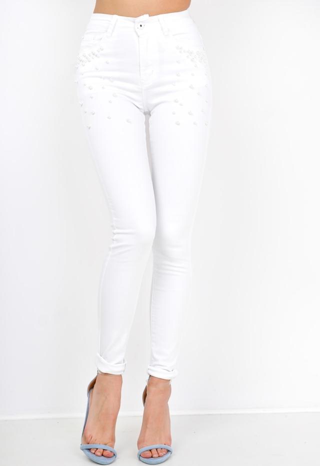 Černé/bílé dámské kalhoty s ozdobnými kuličkami - XS - Bílá