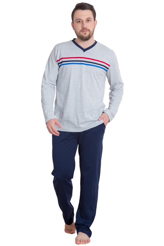 Bavlněné pánské pyžamo Hugo šedé - M