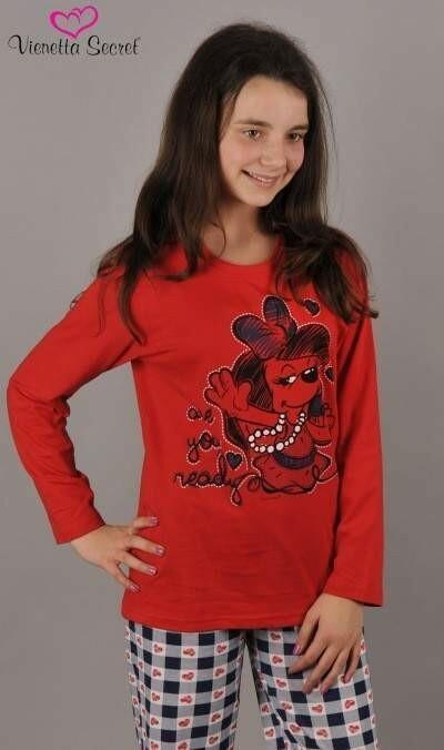Dětské pyžamo dlouhé Pes s mikrofonem - červená 9 - 10