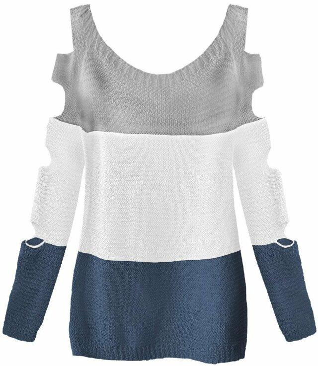 Šedo-bílý svetr s průstřihy na rukávech (228ART) - ONE SIZE - bílá