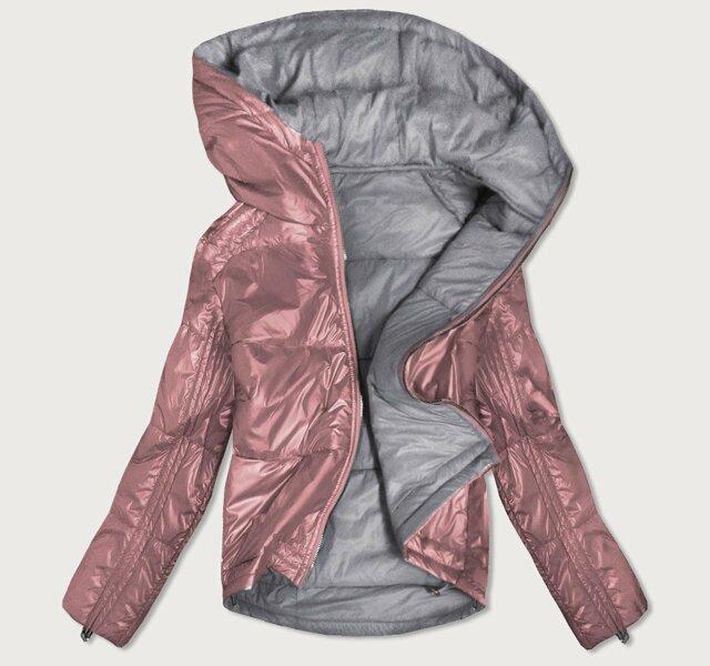 Oboustranná růžovo-šedá lesklá dámská bunda (B9553) - S (36) - růžová