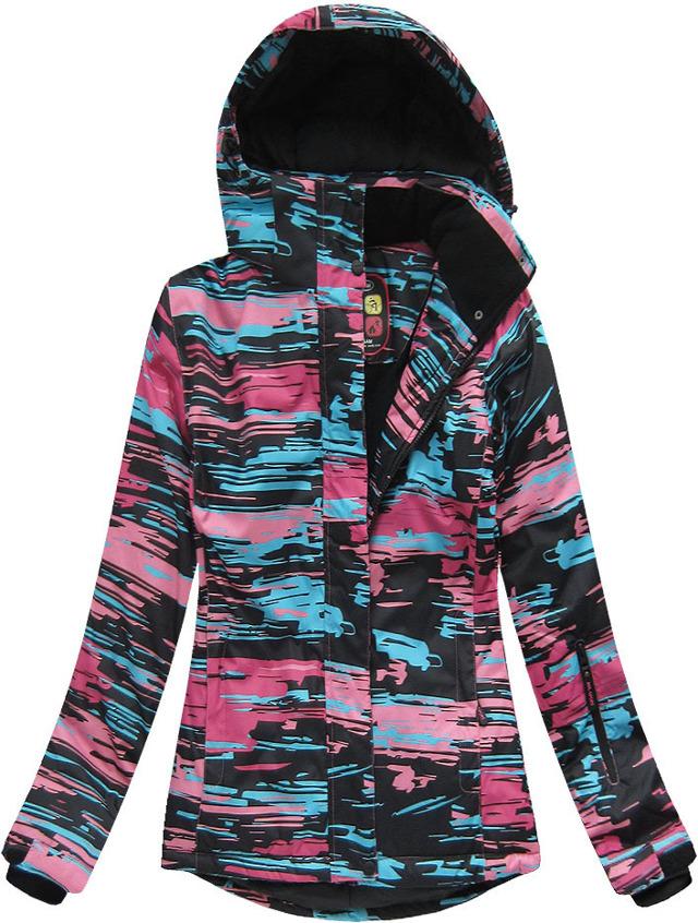 Černo-růžová dámská zimní bunda s membránou (W185) - XXL (44) - růžová
