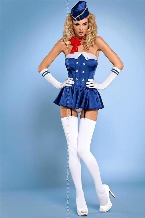 Erotický kostým Stewardess corset - L/XL - modrá-bílá