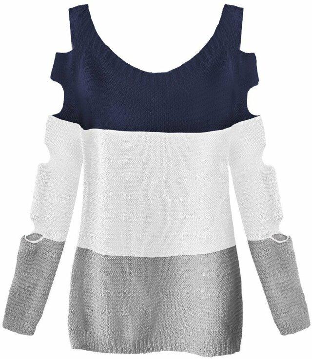 Tmavě modro-bílý svetr s průstřihy na rukávech (228ART) - ONE SIZE - bílá