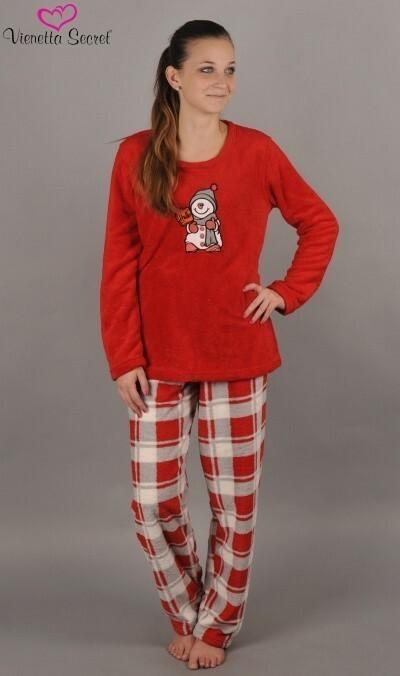 Dámské pyžamo dlouhé Sněhulák s čepicí - jahodová XL