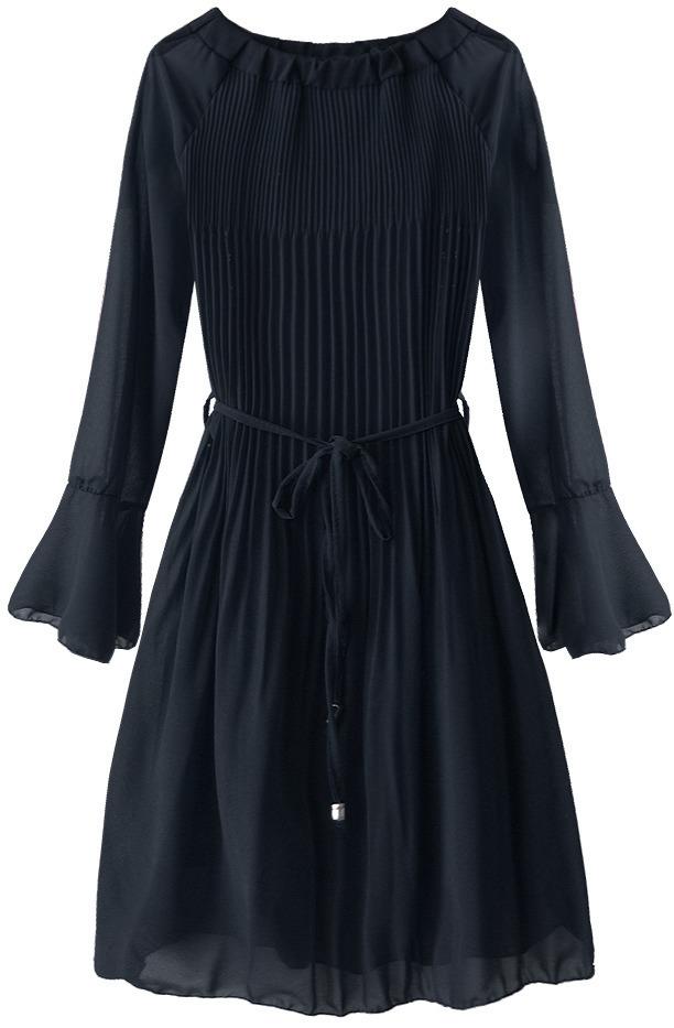 Tmavě modré dámské plisované šaty ve španělské stylu (241ART) - ONE SIZE - tmavěmodrá