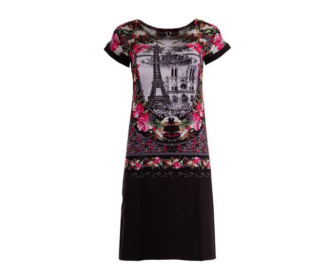 Dámské šaty č.75 - Monika - L - černá s květy