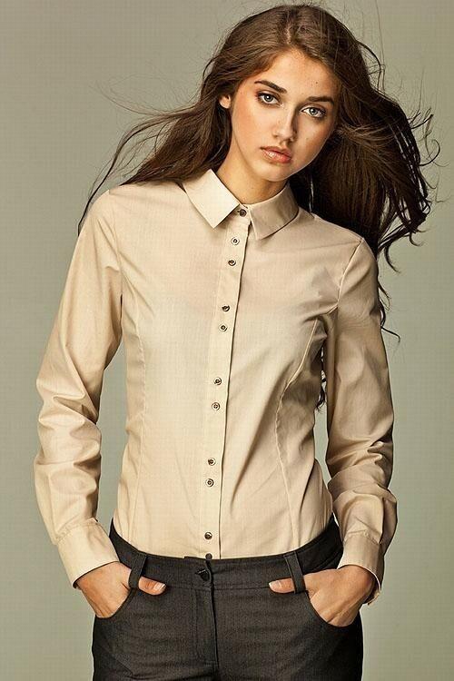 Dámská košile s dlouhým rukávem K34R - Nife - 40 - béžová