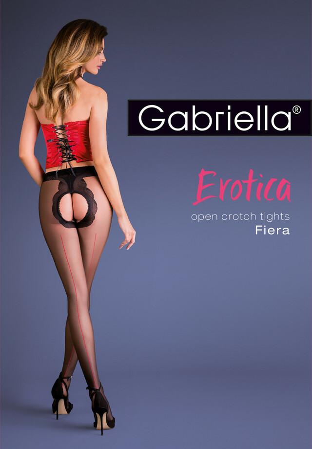 Punčochové kalhoty Gabriella Erotica Fiera 668 - 3/4-M/L - nero-red/černá-červená