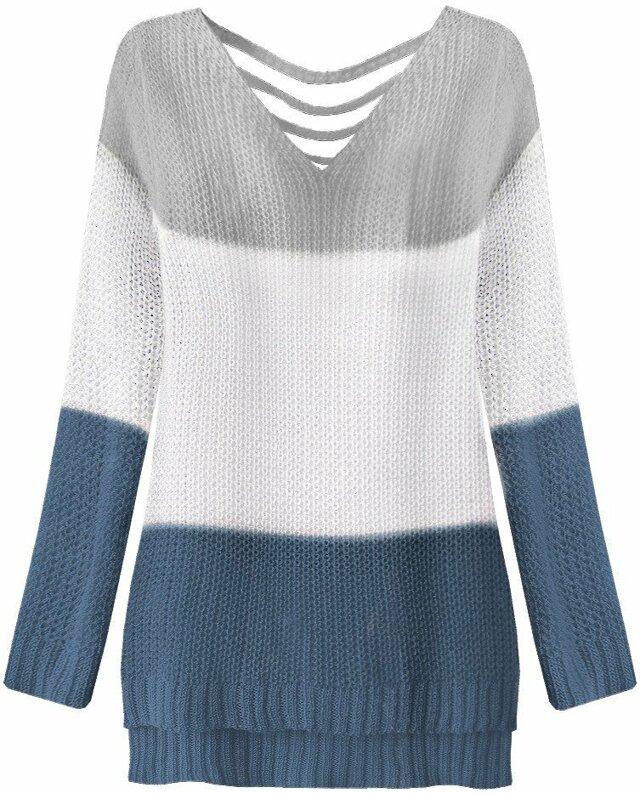 Šedo-bílý svetr s průstřih na zádech (224ART) - ONE SIZE - bílá