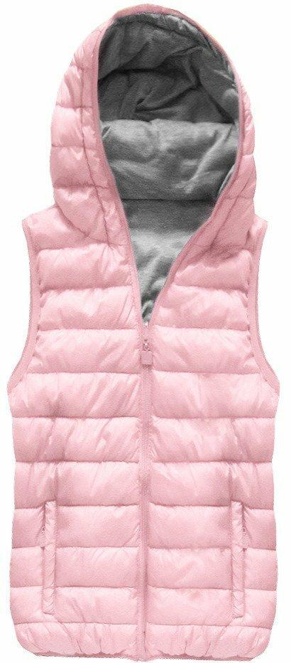 Oboustranná vesta v pudrově růžové barvě s kapucí (B1002) - S (36) - růžová