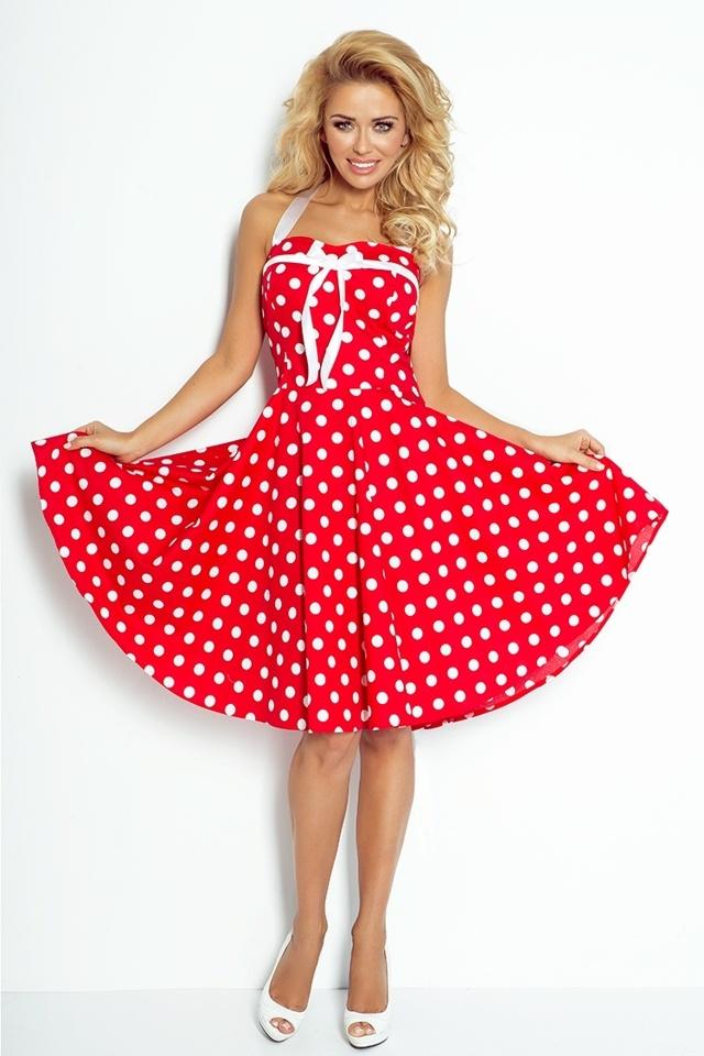Červené rockabilly pin up šaty s korzetovým vázáním 30-14 - UNI