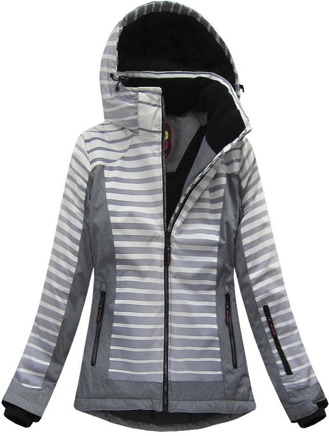 Šedá dámská zimní bunda s membránou (W191) - S (36) - šedá