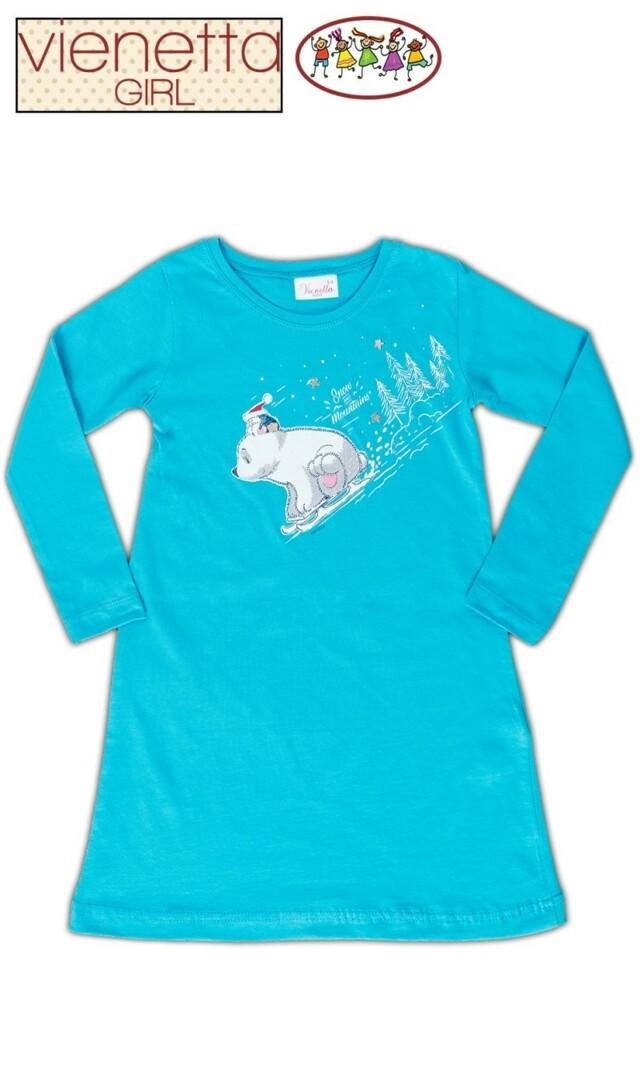 Dětská noční košile s dlouhým rukávem Méďa na saních - tyrkysová 5 - 6