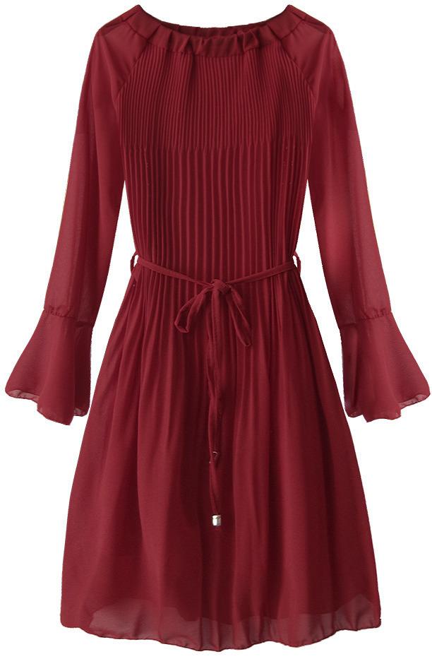 Dámské plisované šaty v bordó barvě ve španělském stylu (241ART) - ONE SIZE - bordó