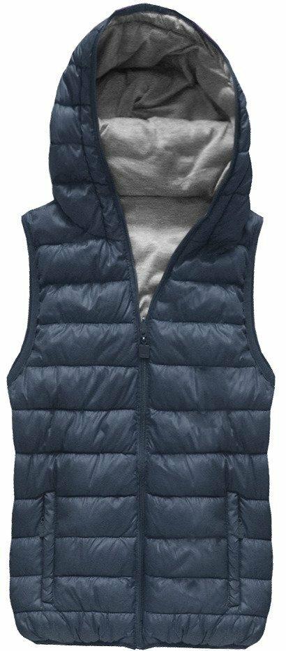 Tmavě modrá oboustranná vesta s kapucí (B1002) - S (36) - tmavěmodrá
