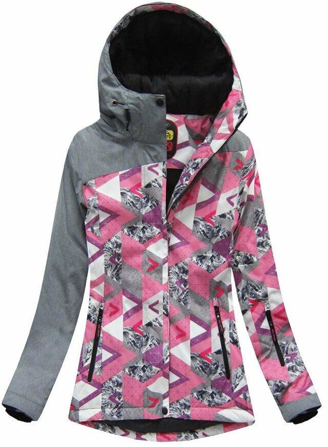 Šedo-růžová dámská zimní bunda s membránou (W181) - XXL (44) - růžová