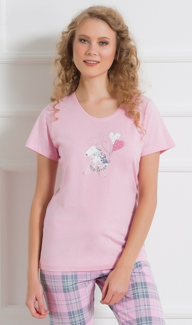 Dámské pyžamo kapri Psi na kole - světle růžová S