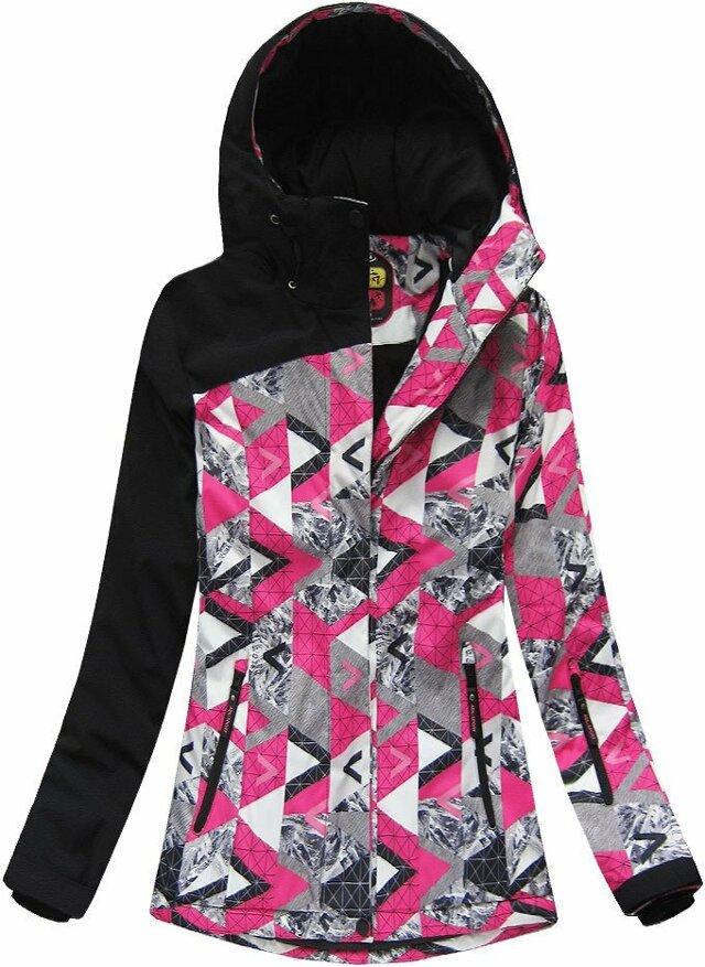 Černo-růžová dámská zimní bunda s membránou (W181) - XL (42) - růžová
