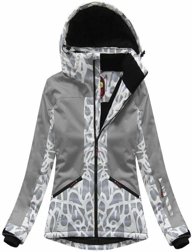 Šedá dámská zimní bunda s membránou (W187) - L (40) - šedá