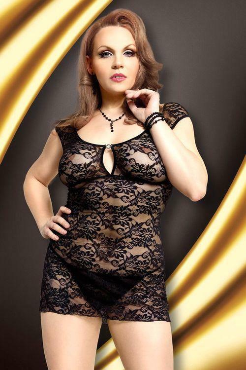Erotická košilka Linley black XXL - XL - černá