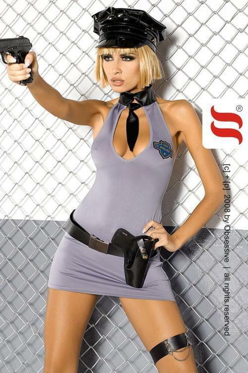 Erotický kostým Police dress XXL - XXL - šedá