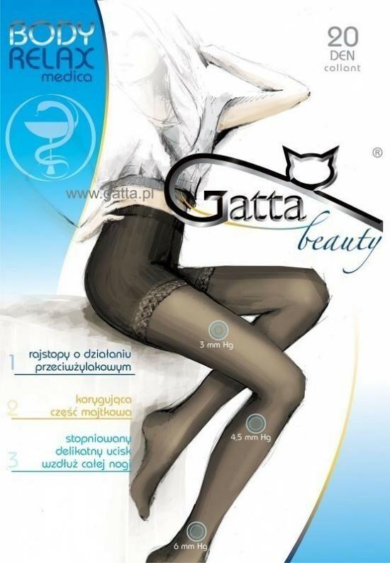 Punčochové kalhoty Gatta Beauty Body Relax medica 40 DEN - 5-XL - béžová