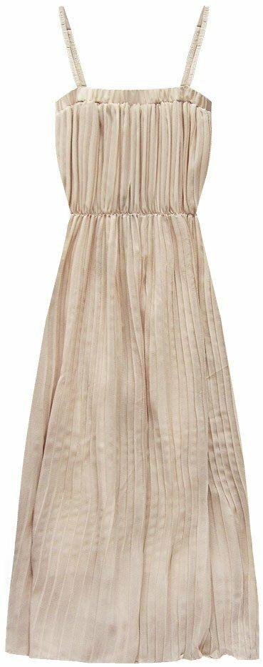 Béžové plisované šaty v délce midi (9247-1) - S (36) - béžová