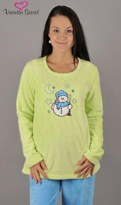 Dámské pyžamo dlouhé Sněhulák a hvězdy - světle zelená XL