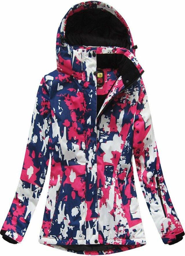 Modro-růžová dámská zimní bunda s membránou (W183) - XL (42) - růžová