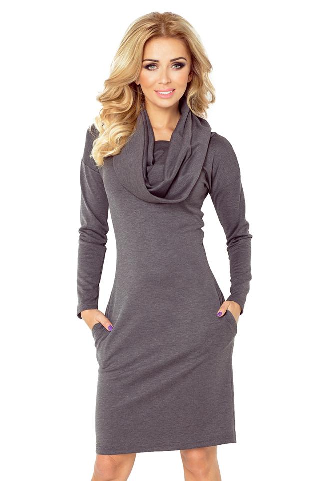 Šedé šaty s rolákem model 4976851 - XXXXL