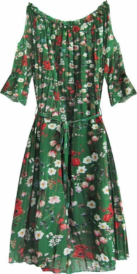 Zelené dámské plisované šaty ve španělském stylu (350ART) - ONE SIZE - zelená